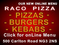 Raco Pizza menu